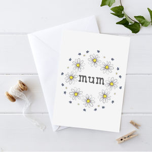 Personalised Daisy And Wild Flowers Card - mother's day cards