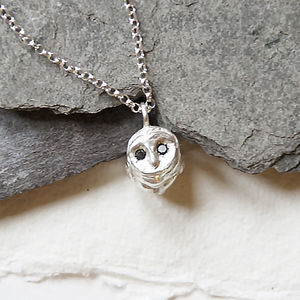 Silver Barn Owl Black Diamond Necklace - necklaces & pendants