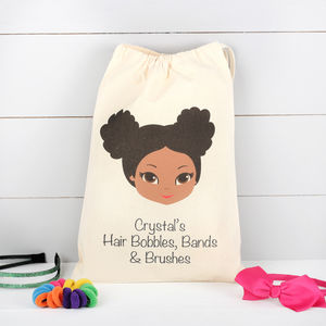 Darker Skin Tone Girls Personalised Hair Accessory Bag - new in home