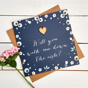 Will You Walk Me Down The Aisle Card Navy Floral