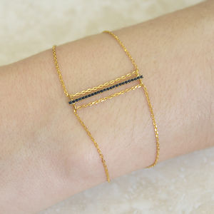 Black Spinel Bar Gold Chain Bracelet - jewellery