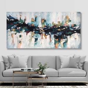 Large Blue Textured Modern Abstract Canvas Painting