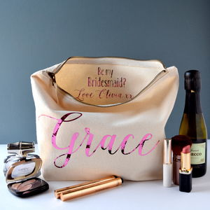 Be My Bridesmaid Secret Message Toiletry Bag - be my flower girl