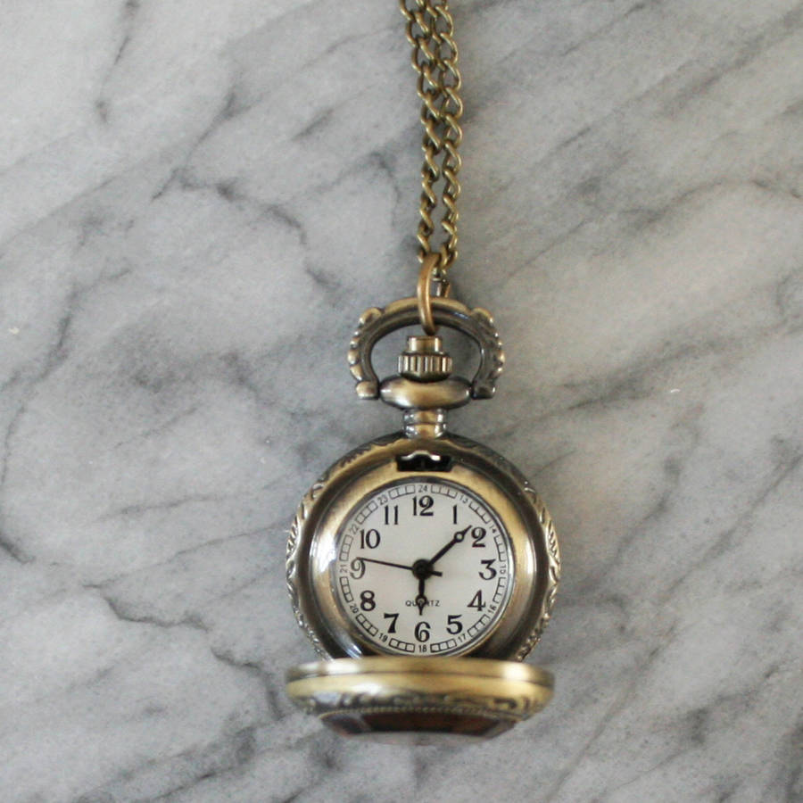 watch key pendant necklace silver antique pocket