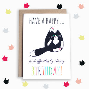 Classy Tuxedo Cat Birthday Card - general birthday cards