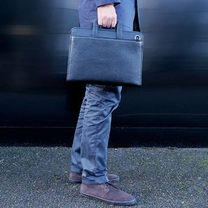 Leather Mac Book Laptop Briefcase And Document Case - laptop bags & cases