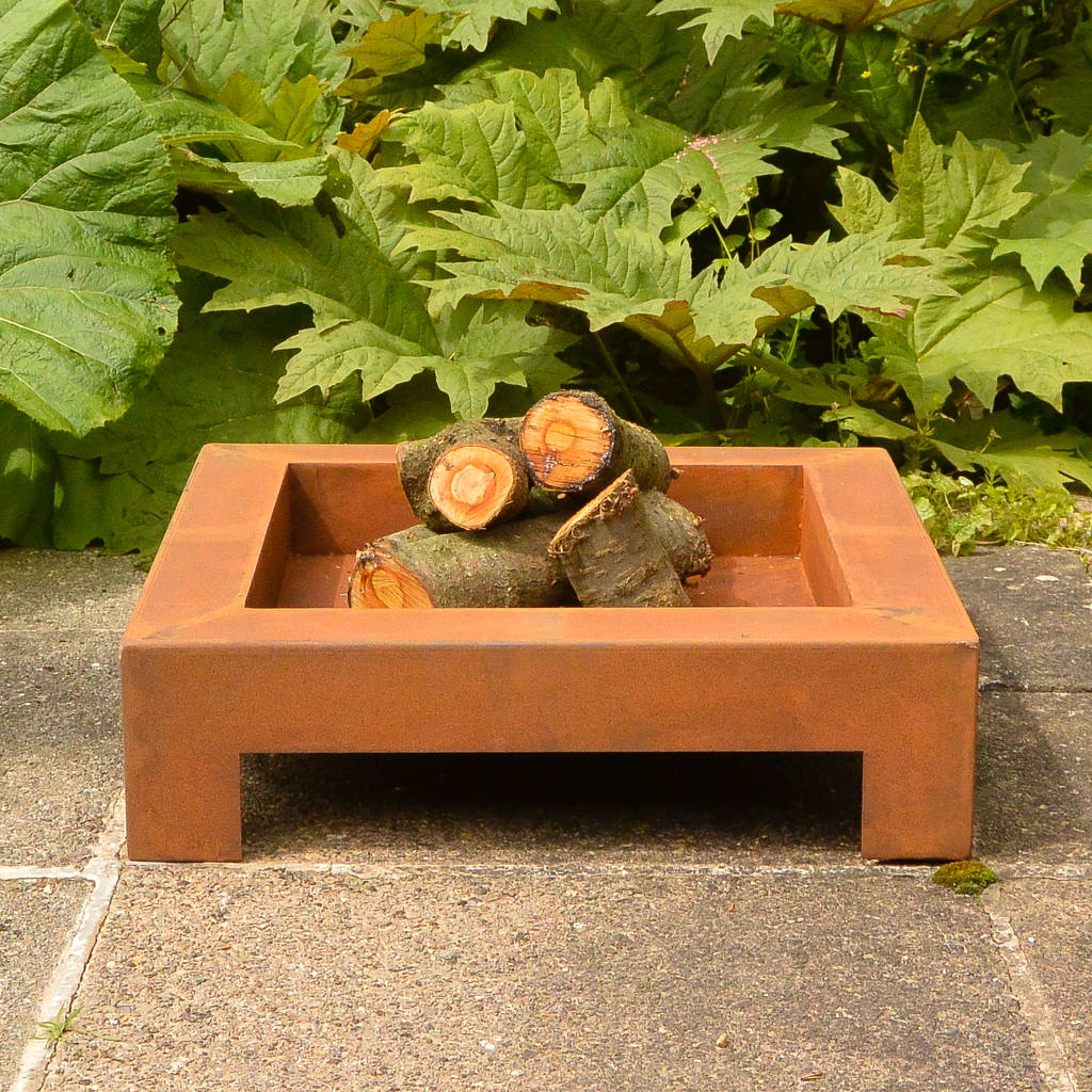 Square Rust Brazier Or Firepit