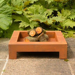 Square Rust Brazier Or Firepit - fire pits & outdoor heating
