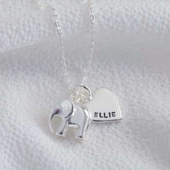 Personalised Silver Elephant Pendant Necklace