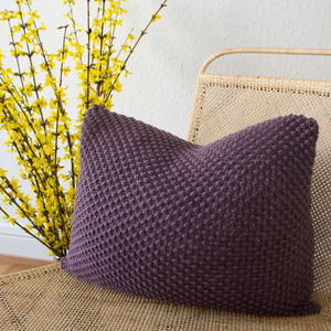 Strikk Hank Knit Pebble Stitch Cushion In Plum - plain cushions