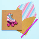 Handmade Roller Skates Glittered Personalised Card