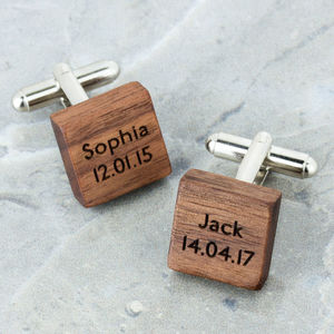 Personalised Wooden Square Cufflinks - men's accessories