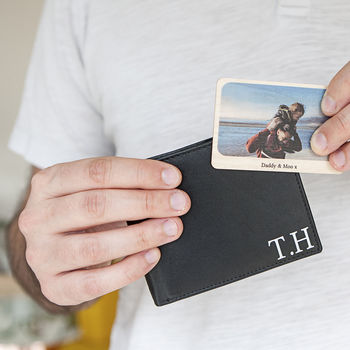 Personalised Man's Leather Wallet And Wooden Photo Card