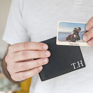 Personalised Man's Leather Wallet And Wooden Photo Card - mens