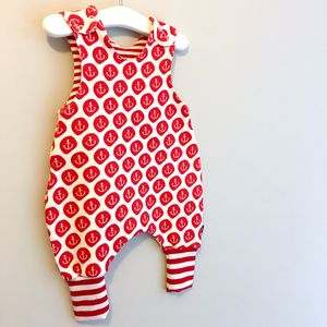 Organic Anchor Baby Romper, Baby Dungarees - clothing