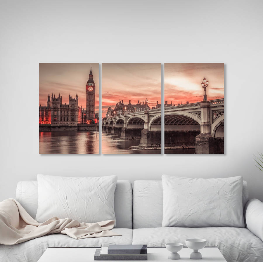Big Ben Triptych Canvas Wall Art