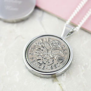 Sixpence 1957 60th Birthday Coin Necklace - necklaces & pendants