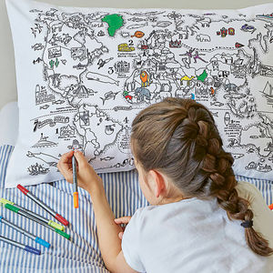 World Map Pillowcase Colour And Learn - gifts for children