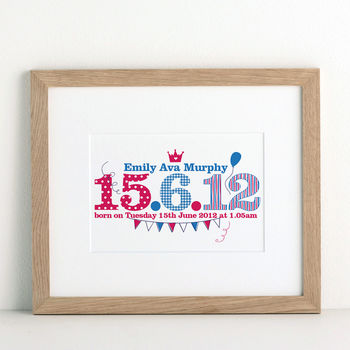 Children's Special Date Print from Letterfest