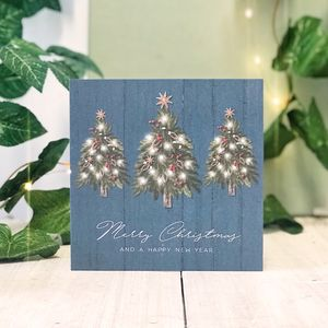 Blue Country Christmas New Year Botanical Card