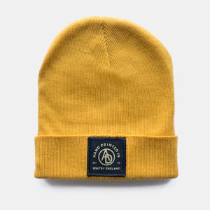 'Insignia' Mustard Patched Beanie - hats, scarves & gloves