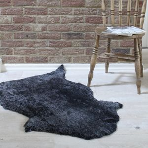 Dark Grey Curly Sheepskin Rug - rugs & doormats