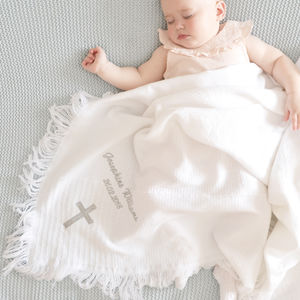 Personalised Christening Baby Shawl - blankets, comforters & throws