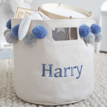 Personalised Large Canvas Storage Bag And Blue Pom Poms