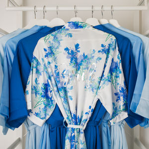 Floral Blue Watercolour Bride Wedding Dressing Gown