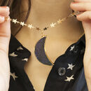 Goldstone Crescent Moon And Stars Necklace