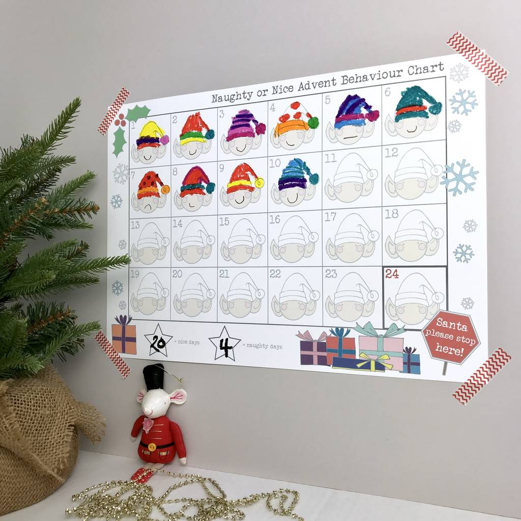 naughty or nice advent chart by yoyo me. Black Bedroom Furniture Sets. Home Design Ideas