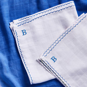 Personalised Blue Mini Muslin Comforters - blankets, comforters & throws