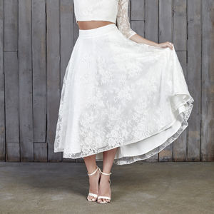 Le Fay Lace Bridal Midi Skirt - dresses
