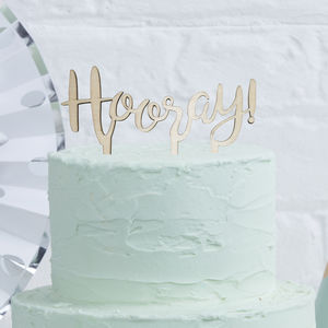 Script Font Hooray Wooden Cake Topper - table decorations