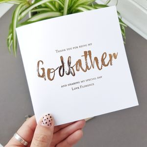 Godfather Christening Thank You Card | Be My Godfather - christening cards
