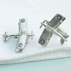 Tiger Moth Bi Plane Cufflinks - men's jewellery