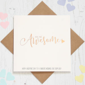 Personalised Rose Gold Foil 'Awesome' Card