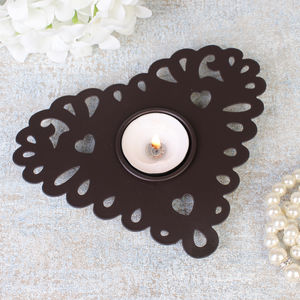 Antique Brown Heart Tea Light Holder