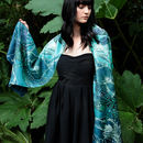 Dragonfly Lily Long Floral Silk Scarf In Teal And Blue