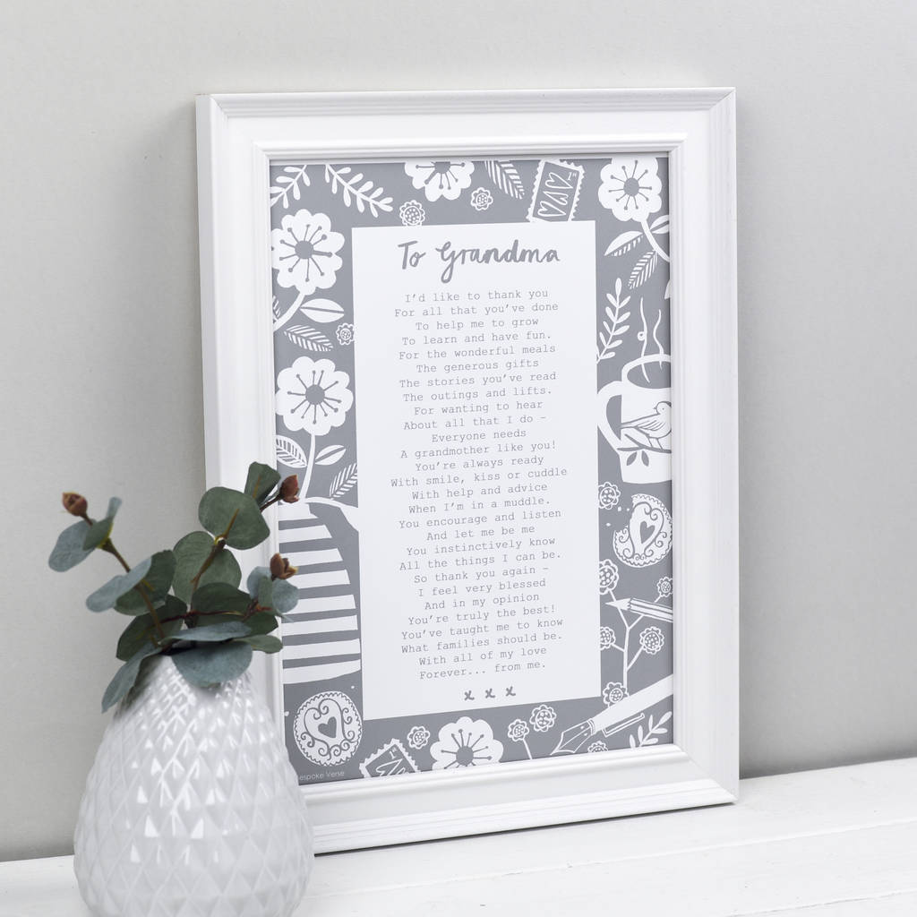 a letter to grandmother\' poem print by bespoke verse ...
