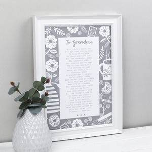 'A Letter To Grandmother' Poem Print - summer sale