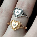 Heart And Cubic Zirconia Sterling Silver Or Gold Ring