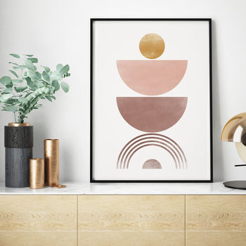 Pink And Gold 'Four' Abstract Geometric Art Print