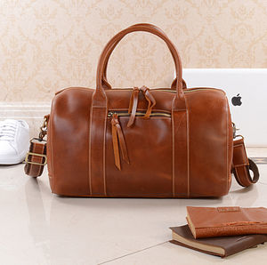 Personalised Leather Weekend Boarding Bag Gift For Her - men's accessories