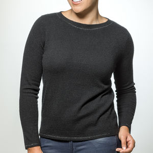 Cashmere Jumper With Diamante Button - women's fashion