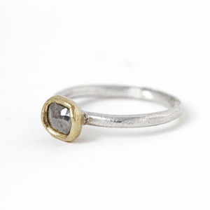 Rose Cut Diamond Ring In Gold And Silver