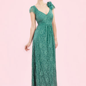 Maxi Dress In Shanghai Green Flower Lace - dresses