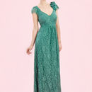 Maxi Dress In Shanghai Green Flower Lace - fashion