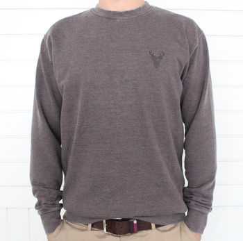 Mens Geometric Stag Sweatshirt With Hidden Message