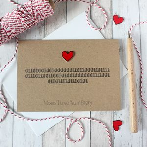 Anniversary Card, I Love You In Binary, Love Card - shop by category